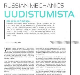 Статья о снегоходах «Русской механики» в журнале KELKKALEHTI